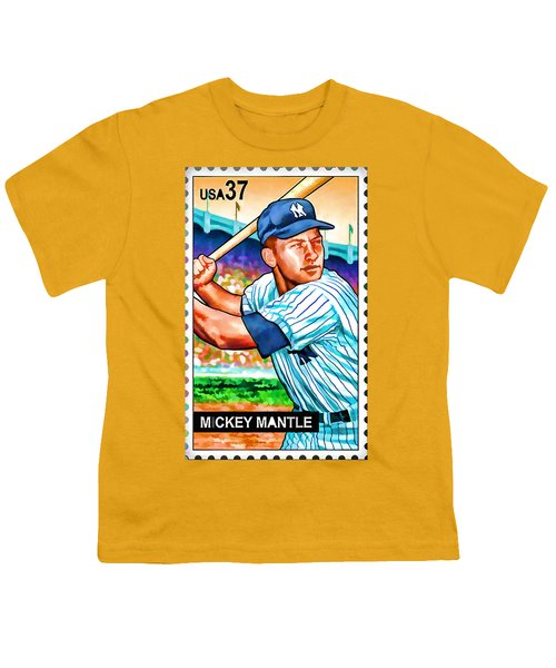 Mickey Mantle Youth T-Shirt by Lanjee Chee