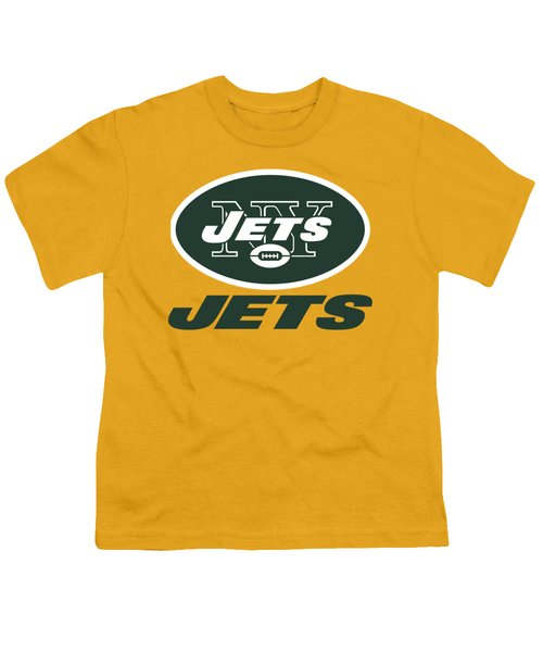 New York Jets On An Abraded Steel Texture Youth T-Shirt