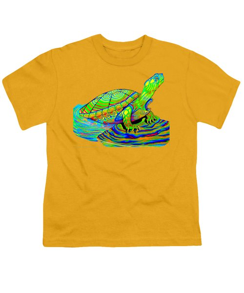 Painted Turtle Youth T-Shirt by Rebecca Wang