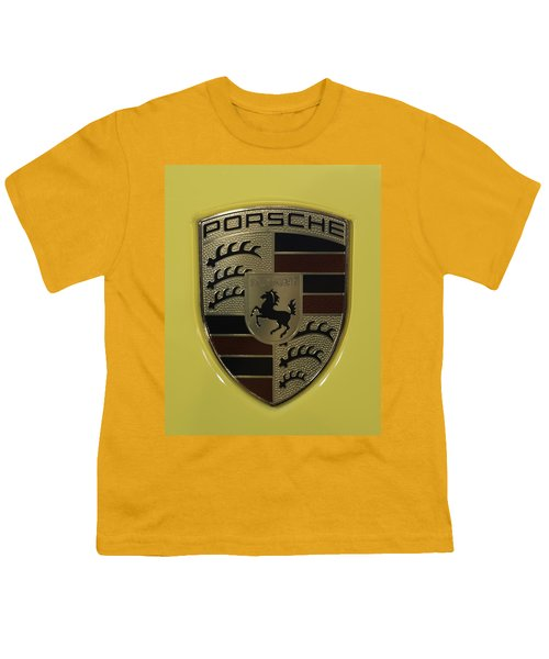 Porsche Emblem On Racing Yellow Youth T-Shirt by Sebastian Musial