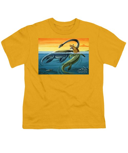 Prehistoric Creatures In The Ocean Youth T-Shirt by English School