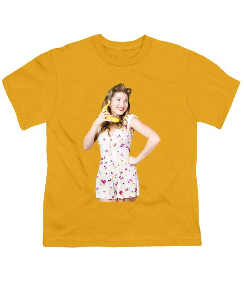 Retro Pin Up Girl Chatting On Banana Telephone Youth T-Shirt by Jorgo Photography - Wall Art Gallery