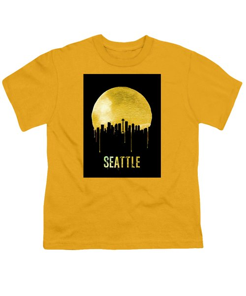 Seattle Skyline Yellow Youth T-Shirt by Naxart Studio