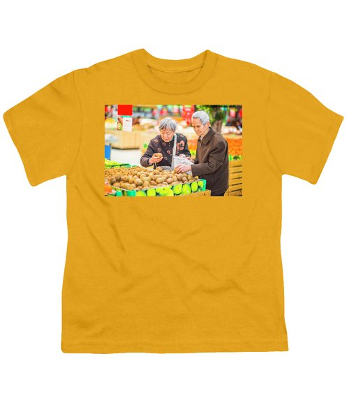 Senior Man And Woman Shopping Fruit Youth T-Shirt