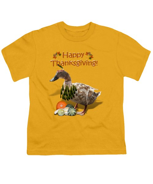 Thanksgiving Indian Duck Youth T-Shirt by Gravityx9 Designs