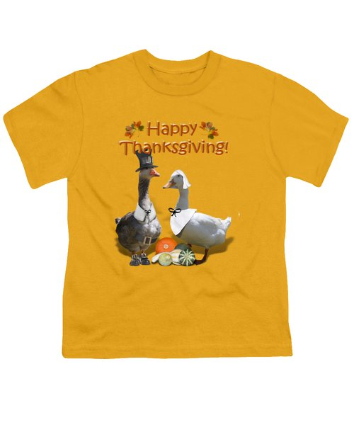 Thanksgiving Pilgrim Ducks Youth T-Shirt by Gravityx9 Designs