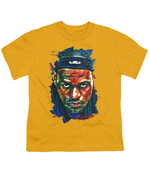 The Lebron Death Stare Youth T-Shirt by Maria Arango