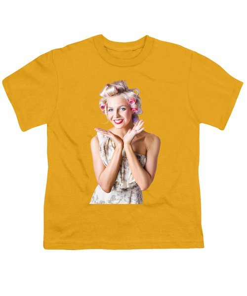 Woman With Rollers In Hair Youth T-Shirt by Jorgo Photography - Wall Art Gallery