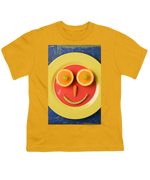 Yellow Plate With Food Face Youth T-Shirt by Garry Gay