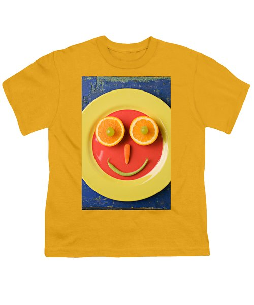 Yellow Plate With Food Face Youth T-Shirt