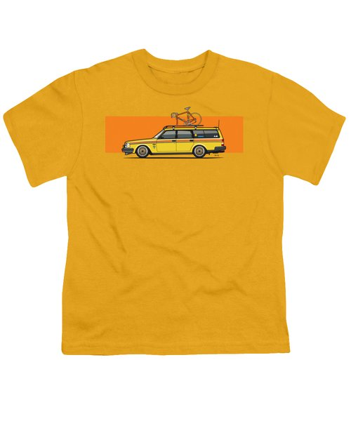 Yellow Volvo 245 Wagon With Roof Rack And Vintage Bicycle Youth T-Shirt