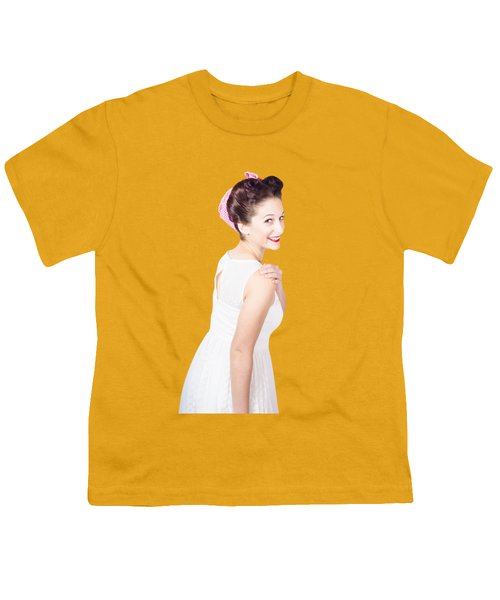 Youth T-Shirt featuring the photograph Young Happy Retro Woman Wearing Red Lipstick by Jorgo Photography - Wall Art Gallery