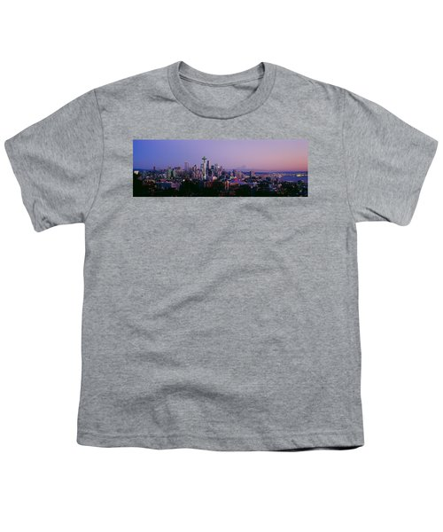 High Angle View Of A City At Sunrise Youth T-Shirt by Panoramic Images