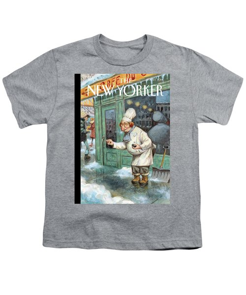 A Chef Lightly Pinches Salt On The Sidewalk Youth T-Shirt