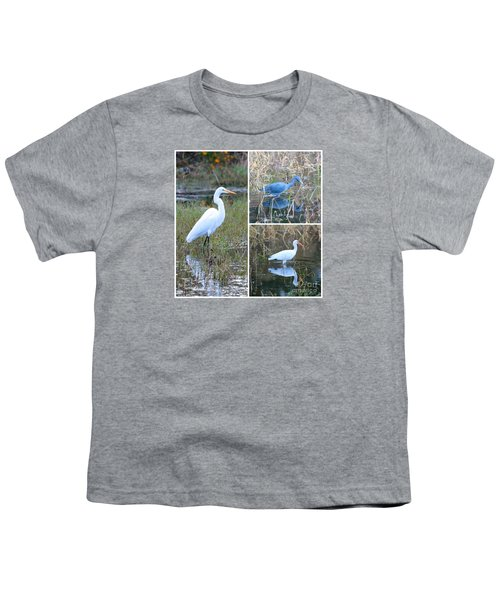 Birds On Pond Collage Youth T-Shirt by Carol Groenen