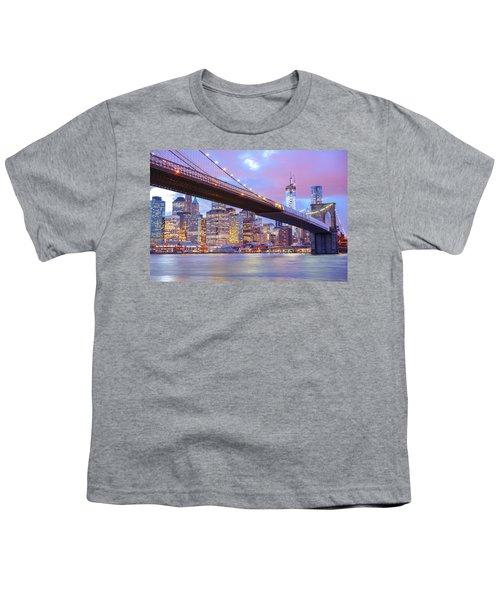 Brooklyn Bridge And New York City Skyscrapers Youth T-Shirt