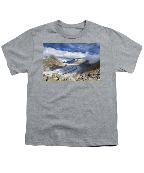 Great Aletsch Glacier Swiss Alps Switzerland Europe Youth T-Shirt by Matthias Hauser