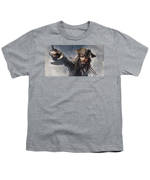 Pirates Of The Caribbean Johnny Depp Artwork 2 Youth T-Shirt by Sheraz A