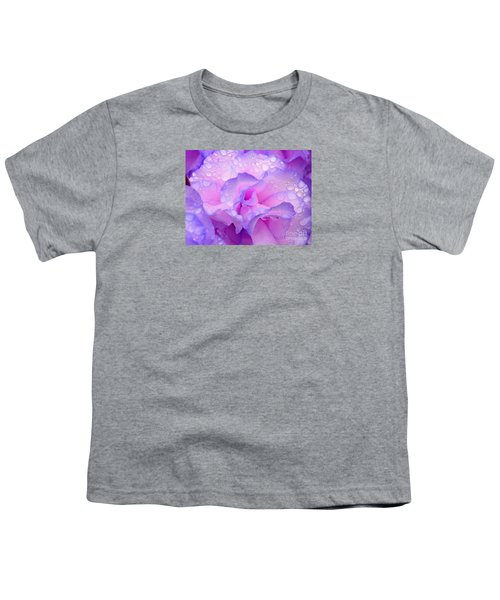 Wet Rose In Pink And Violet Youth T-Shirt by Nareeta Martin