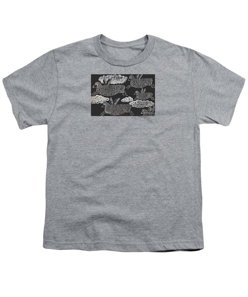 Youth T-Shirt featuring the drawing And Sheep Can Fly by Nareeta Martin