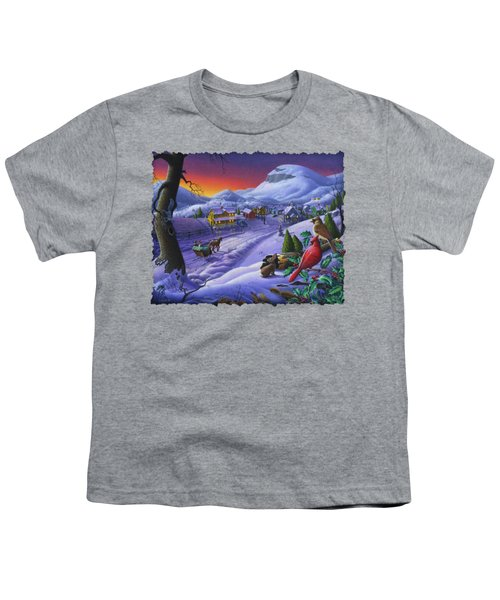 Christmas Sleigh Ride Winter Landscape Oil Painting - Cardinals Country Farm - Small Town Folk Art Youth T-Shirt by Walt Curlee