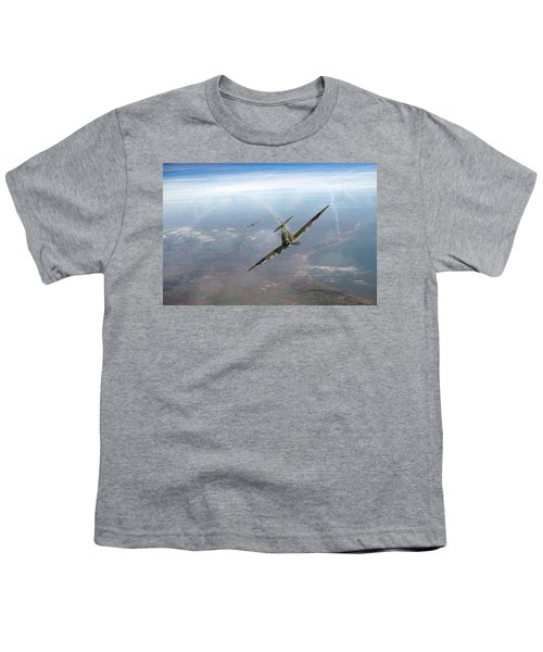 Youth T-Shirt featuring the photograph Battle Of Britain Spitfires Over Kent by Gary Eason