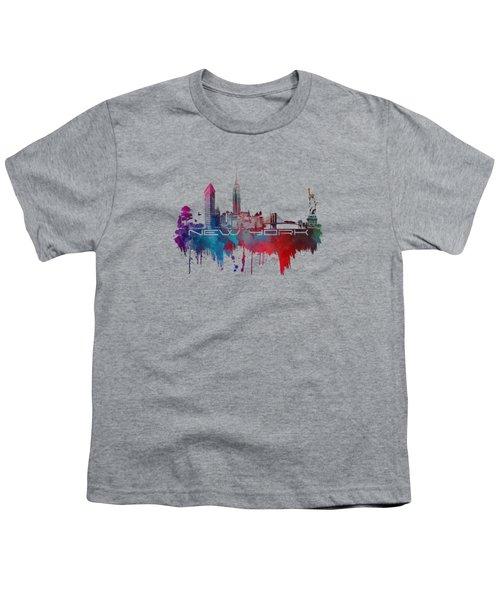 New York City Skyline Blue Youth T-Shirt by Justyna JBJart