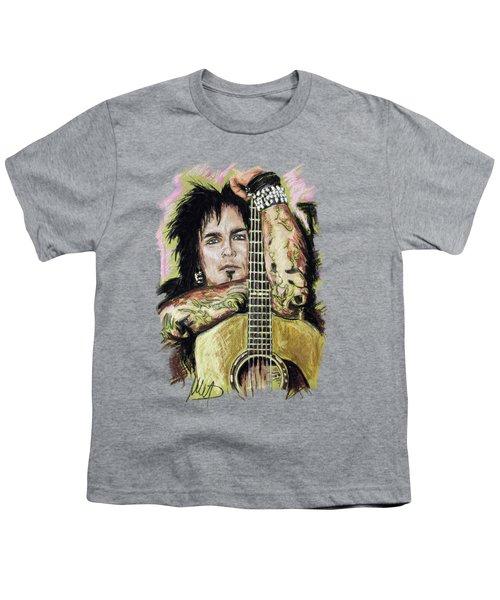 Nikki Sixx Youth T-Shirt by Melanie D