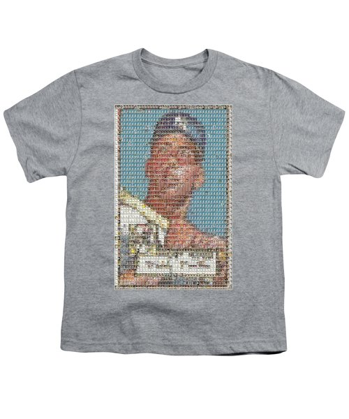 1952 Topps Mickey Mantle Rookie Card Mosaic Youth T-Shirt by Paul Van Scott