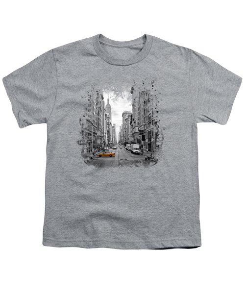New York City 5th Avenue Youth T-Shirt by Melanie Viola