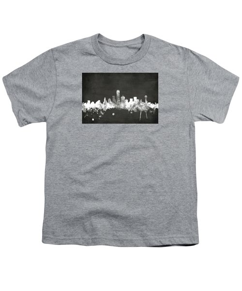 Dallas Texas Skyline Youth T-Shirt by Michael Tompsett