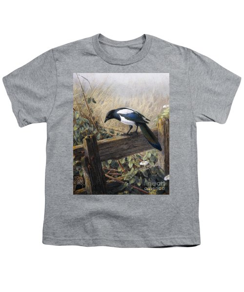 A Magpie Observing Field Mice Youth T-Shirt