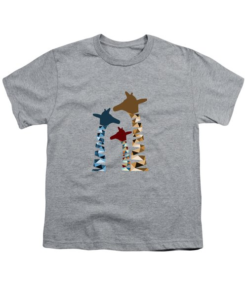 Abstract Colored Giraffe Family Youth T-Shirt by Brigitte Carre