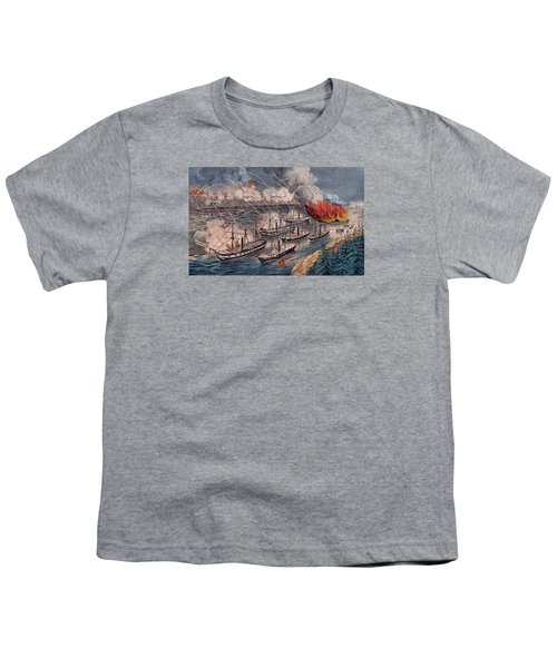 Admiral Farragut's Fleet Engaging The Rebel Batteries At Port Hudson Youth T-Shirt