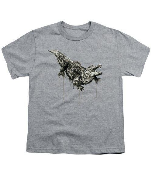 Alligator Black And White Youth T-Shirt by Marian Voicu