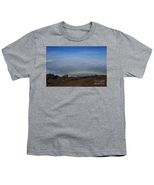 Anuenue - Rainbow At The Ahinahina Ahu Haleakala Sunrise Maui Hawaii Youth T-Shirt by Sharon Mau