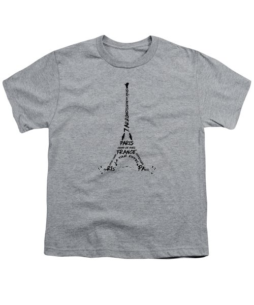 Digital Art Eiffel Tower Pattern Youth T-Shirt