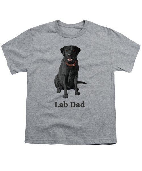 Black Labrador Retriever Lab Dad Youth T-Shirt by Crista Forest