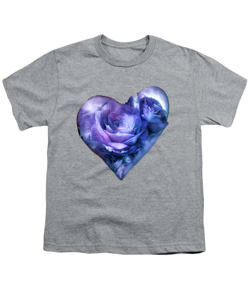 Heart Of A Rose - Lavender Blue Youth T-Shirt by Carol Cavalaris