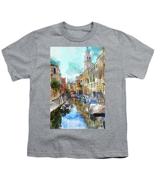 Beautiful Boats In Venice, Italy Youth T-Shirt