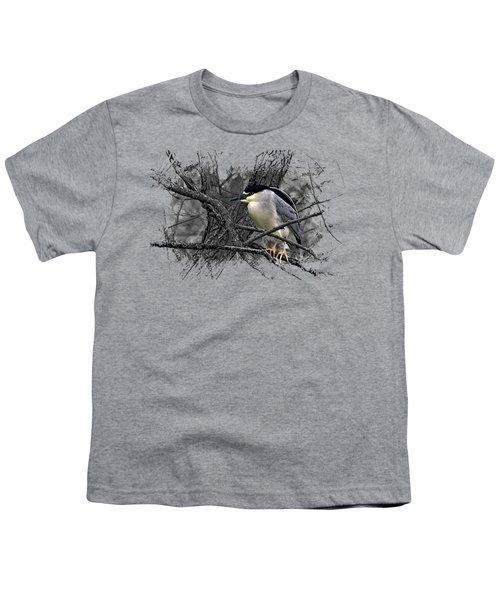 Black Crowned Night Heron 001 Youth T-Shirt