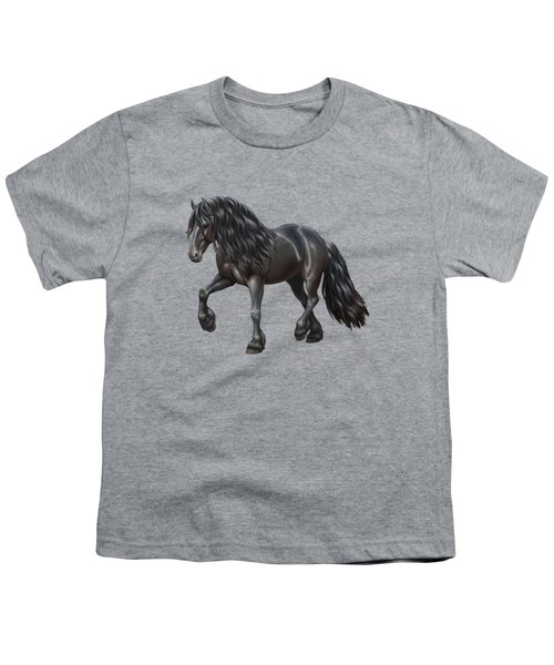 Black Friesian Horse In Snow Youth T-Shirt