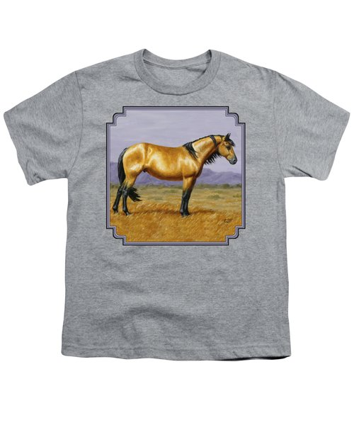 Buckskin Mustang Stallion Youth T-Shirt by Crista Forest