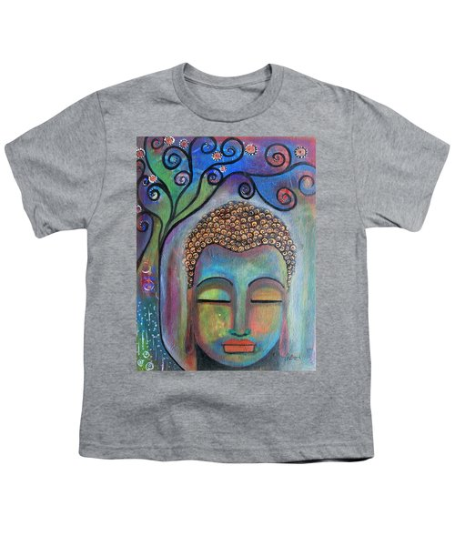 Youth T-Shirt featuring the painting Buddha With Tree Of Life by Prerna Poojara