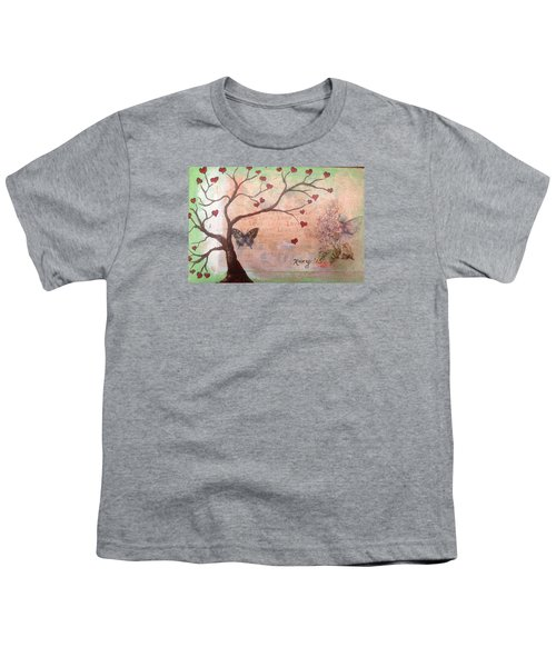 Butterfly Fairy Heart Tree Youth T-Shirt