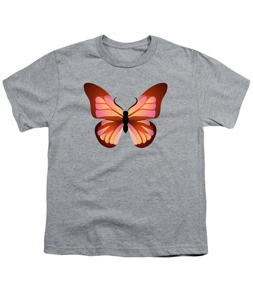 Butterfly Graphic Pink And Orange Youth T-Shirt