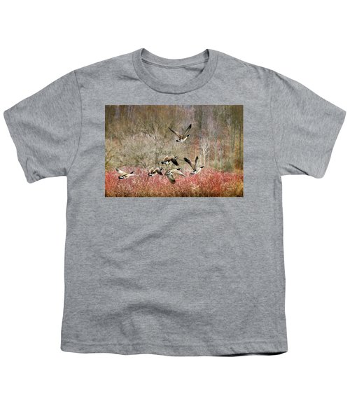 Canada Geese In Flight Youth T-Shirt