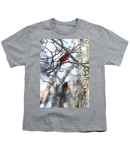Cardinals In Mossy Tree Youth T-Shirt by Carol Groenen