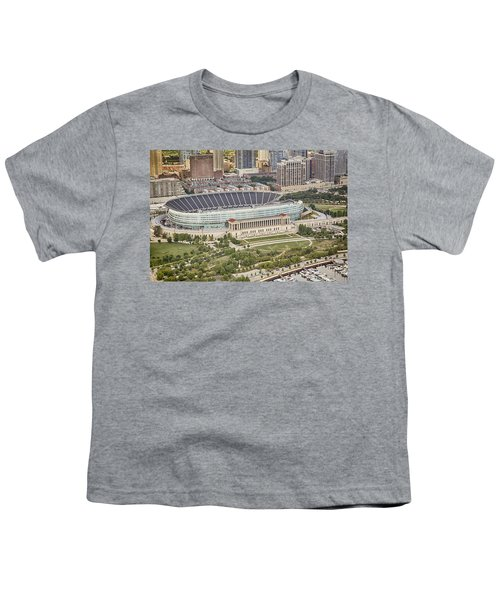 Youth T-Shirt featuring the photograph Chicago's Soldier Field Aerial by Adam Romanowicz