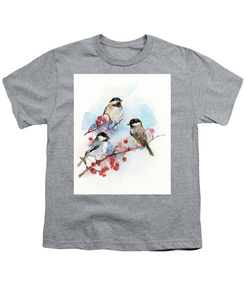 Chickadees With Berries Youth T-Shirt